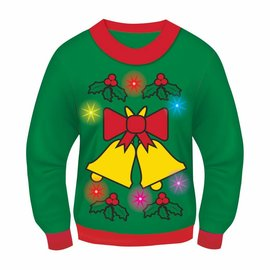Forum Novelties Christmas Sweater, Jingle Bells GREEN (Light & Sound!) - L 42-44