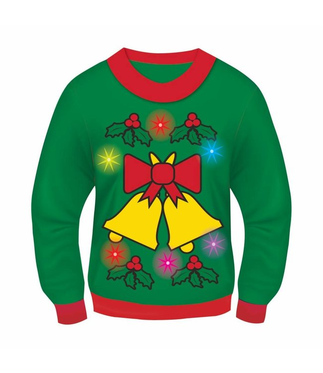 Forum Novelties Christmas Sweater, Jingle Bells GREEN  Light and Sound - L 42-44