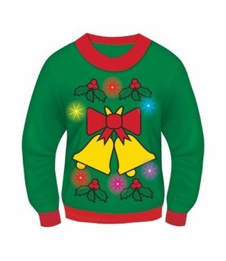 Forum Novelties Christmas Sweater, Jingle Bells GREEN Light and Sound - XL 46-48