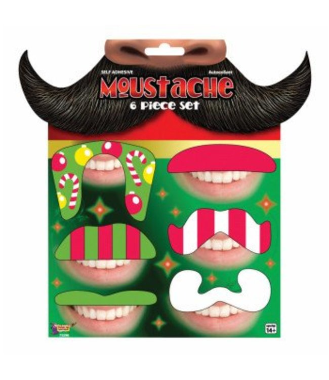 Forum Novelties Christmas Moustache - 6 Set