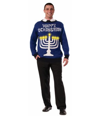 Forum Novelties Chanukah Sweater (Light Up Menorah!) - L 42-44