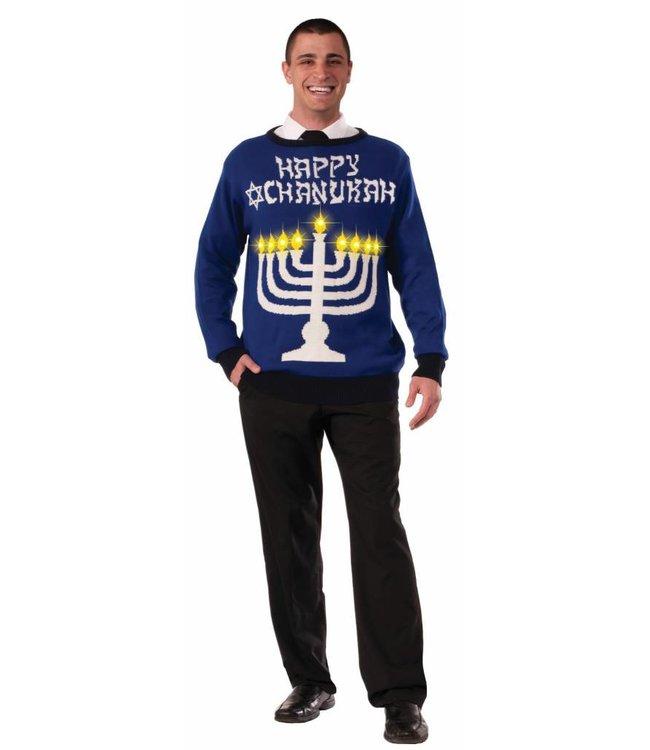 Forum Novelties Chanukah Sweater (Light Up Menorah!) - XL 46-48