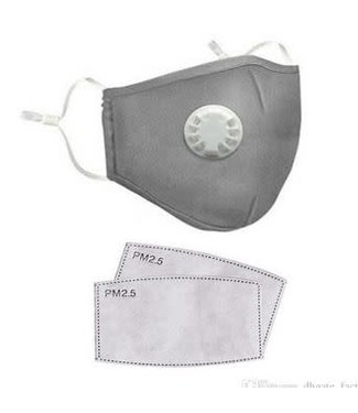 Face Mask Protection Respirator, Gray w/Filters- 12