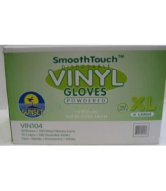 Disposable Vinyl Gloves, LG 100ct, Powder Free by SmoothTouch /144
