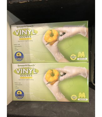 Disposable Vinyl Gloves, MED 100ct, Powder Free,  by SmoothTouch