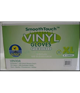Disposable Vinyl Gloves, XL 100ct, Powered,  by SmoothTouch