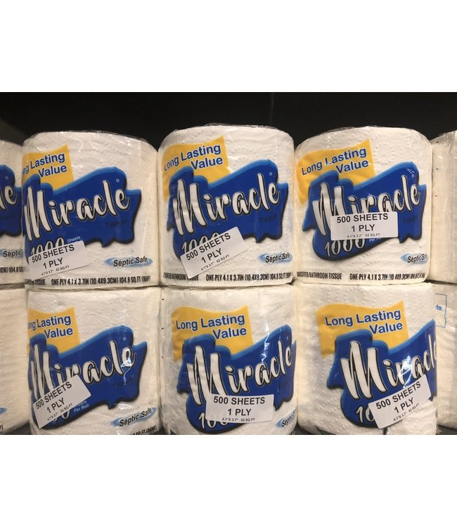 Miracle Toilet Paper Roll 500 Sheets 1 Ply by Apex /160