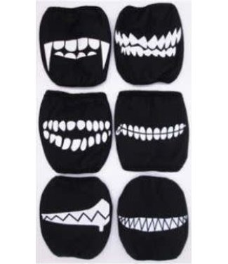 Face Mask Scarey Teeth, Assorted Prints