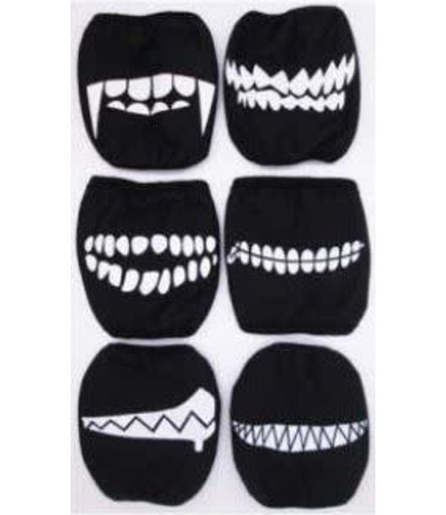 Face Mask Scary Teeth, Assorted Prints