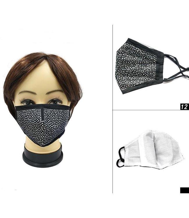 Face Mask Gem Covered Black, Cotton Washable/Reusable SL