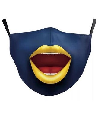 Face Mask Blue Clown w/Yellow Lips Cotton, Washable/Reusable SL- 1