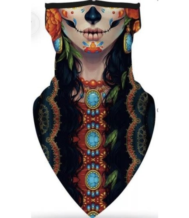 Neck Gaiter, Sugar Skull Female Day Of The Dead