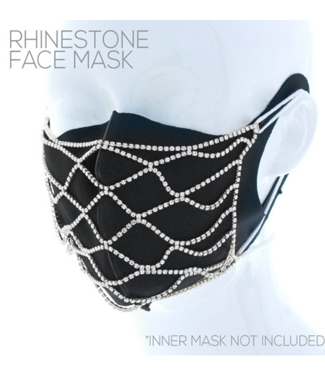 Face Mask Covering Net Pattern Rhinestone