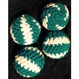 Ronjo Crocheted Balls Acrylic 4 pk, 3/4 inch - Swirl Turquoise/White (M8)