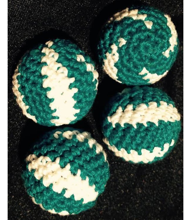 Ronjo Crocheted Balls Acrylic 4 pk, 3/4 inch - Swirl Turquoise/White (M8)