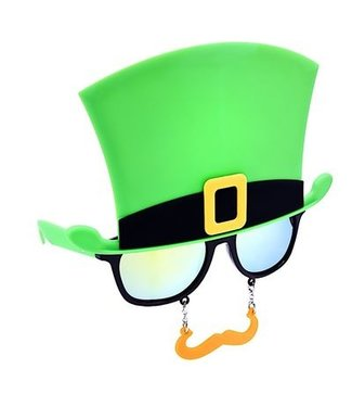 Sun-Staches Sunglasses St. Patrick's St. Day Green Top Hat Sunstaches