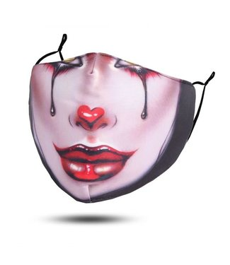 Face Mask Harlequin Clown, Washable/Reusable SL 3