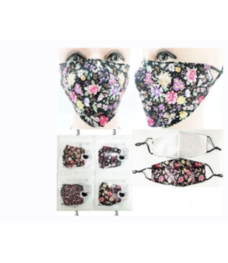 Face Mask Black with Flowers, Assorted Designs Washable/Reusable- 2
