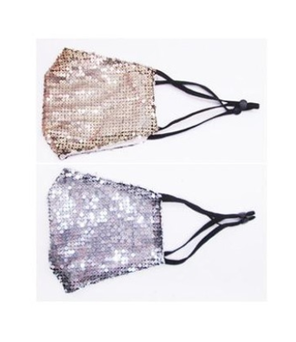 Face Mask Sequins Gold OR Silver, Cotton Lined Polyester Washable/Reusable- 14