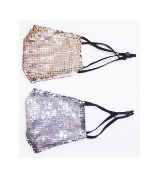 Face Mask Sequins Gold OR Silver, Cotton Lined Polyester Washable/Reusable