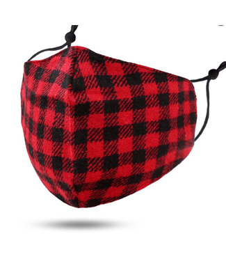 Face Mask Red Flannel Look, Cotton Washable/Reusable SL- 3