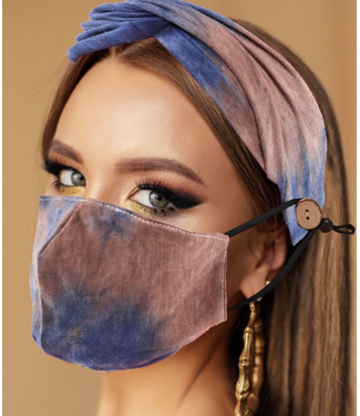 Face Mask & Headband Purple and Brown, Washable/Reusable SL- 9