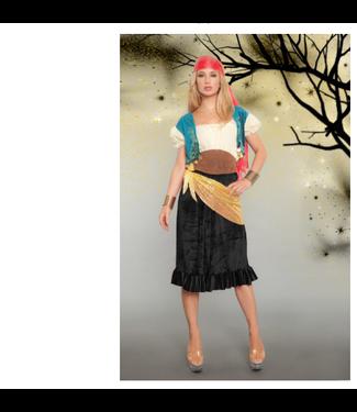 WF 4152 Gypsy Costume, 2 Pc. Set Size M/L – Includes Dress and Bandana