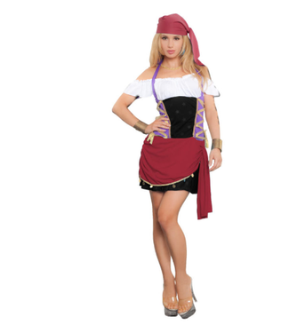 WF 4144 Sexy Pirate Costume, 2 Pc. Set Size S/M – Includes Dress and Bandana