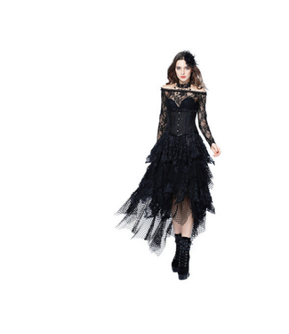 WF KW106 – Gothic Messy Mesh and Lace Skirt