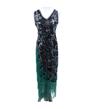 WF 2534 –Flapper Dress Art Deco  Black/Silver Size Small