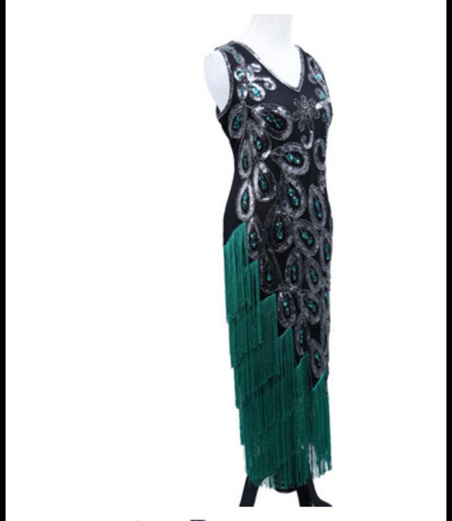 WF 2534- Flapper Dress Art Deco Black/Silver Size X-Large