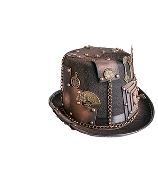 WF 69818 – Steampunk Hat w/gears, keys, scissors, and chains, Brown / Gold