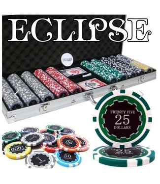 Poker Chip Set 500 Pc, Eclipse 14G  - Aluminum Case /898