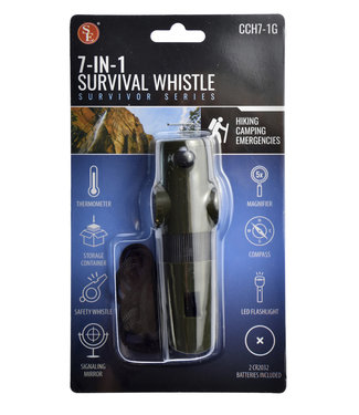 7 IN 1 Survival Whistle/LED Flashlight, Green by SE