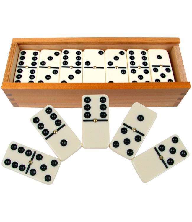 Hey! Play! Double Six  28 Piece Dominoes Set, Ivory with Black Pips and  Spinners