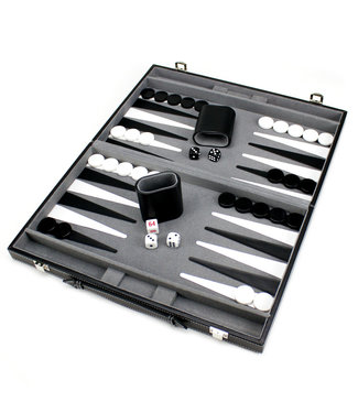Brybelly Backgammon  15in Backgammon Set with Stitched Black Leatherette Case