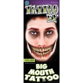 Tinsley Transfers Evil Grin Big Mouth Tattoo