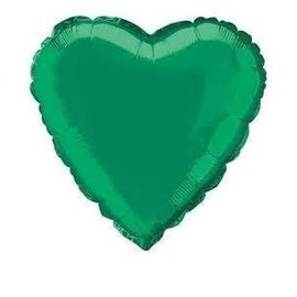 Metallic Green Heart Foil Balloon 18""