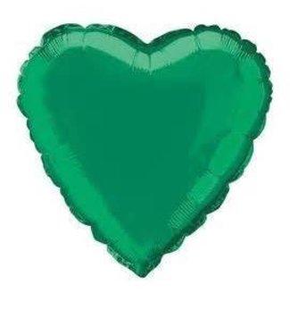 "Metallic Green Heart Foil Balloon 18"""