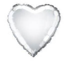 Metallic Silver Heart Foil Balloon 18""