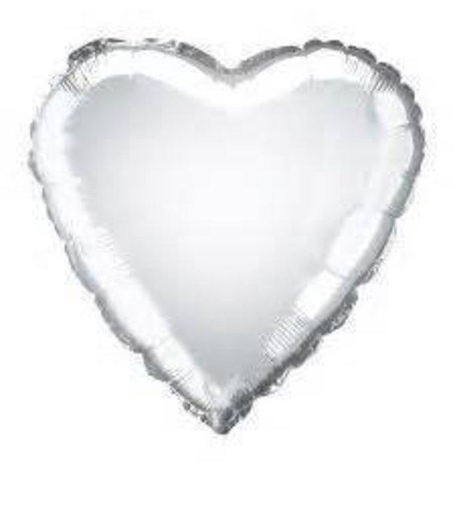 "Metallic Silver Heart Foil Balloon 18"""