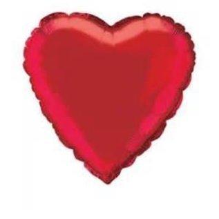 "Metallic Red Heart Foil Balloon 18"""