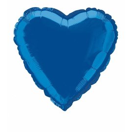 Metallic Blue Heart Foil Balloon 18""