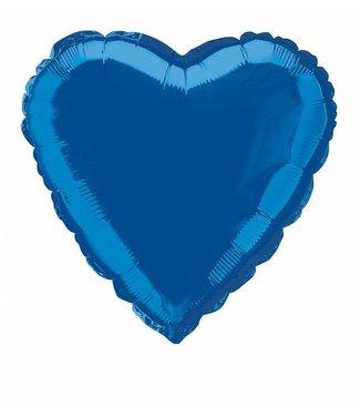 "Metallic Blue Heart Foil Balloon 18"""