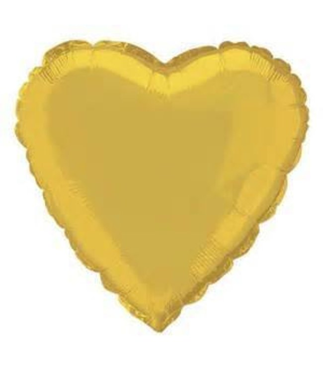 Metallic Gold Heart Foil Balloon 18""
