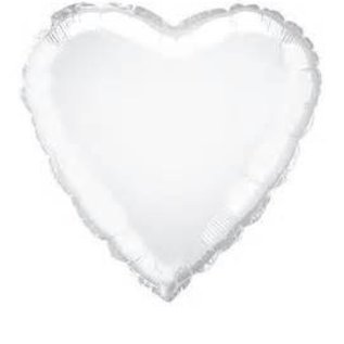 White Heart Foil Balloon 19""