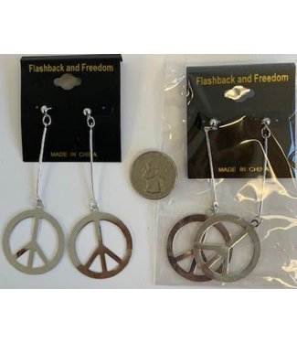 Earrings Peace Sign Silver by Flashback And Freedom Inc