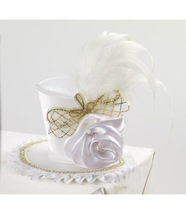 Forum Novelties Mini Top Hat With Rose - White