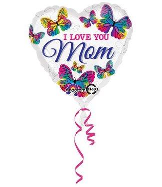 I Love You Mom Butterflies Balloon