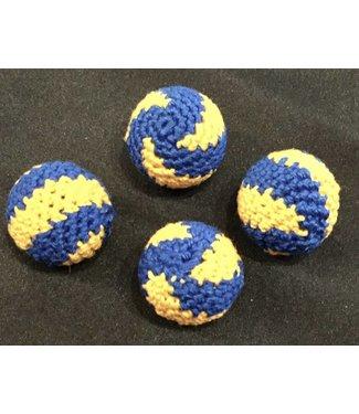 Ronjo Crocheted Balls Acrylic  4 pk, 3/4 inch - Swirl Blue/Yellow (M8)
